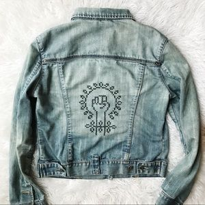 Worn Embroidered Denim Feminist Jacket